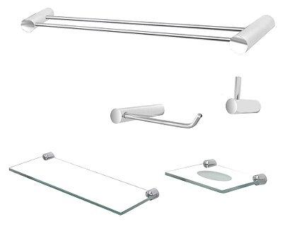 Jogo acessórios de banheiro aço inox metal 5 peças Plus 500PL Grego Metal