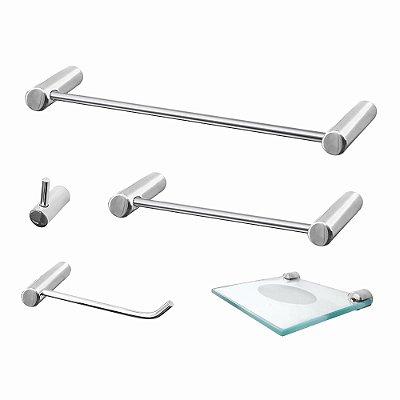 Acessórios para Banheiro Metal 5 Peças Luxo Slim 500LSB Grego Metal