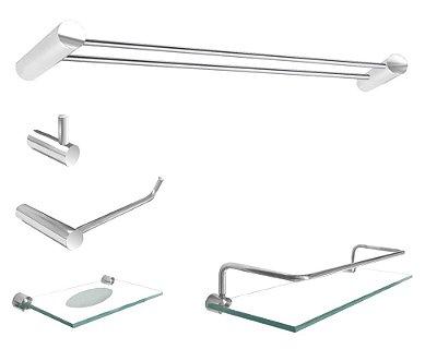 Jogo acessórios para banheiro aço inox metal 5 peças Plus 501PL grego Metal
