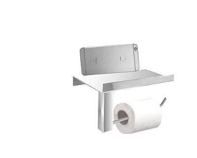 Porta papel higiênico com suporte para acessórios Grego Metal 311DCB
