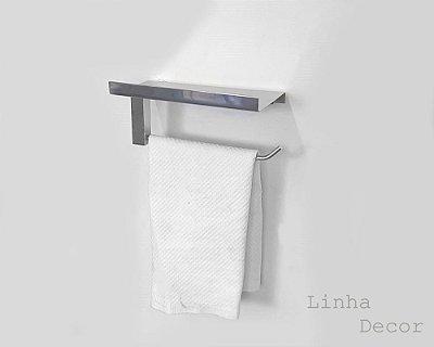 Porta toalhas parede com suporte de acessório metal inox Grego Metal 312DCC