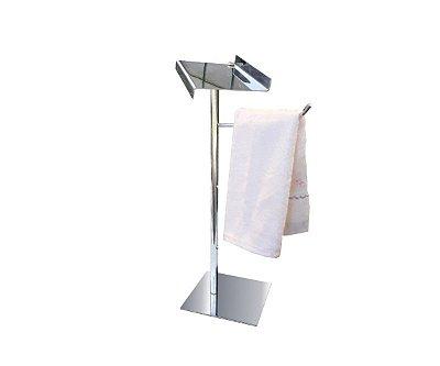 Porta toalha bancada com suporte para acessórios aço inox 115CP Grego Metal