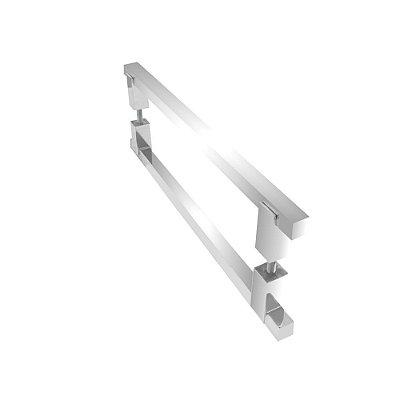 Puxador duplo para portas de madeira vidro 80 cm polido 100PM Grego Metal