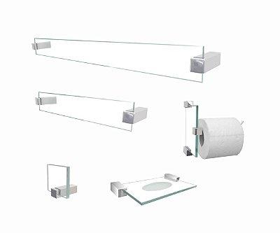 Kit acessórios para banheiro de vidro 5 peças transparente 600CL Grego Metal