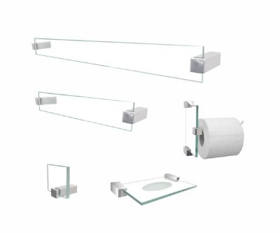 Acessórios para banheiro Classic 600CLB vidro incolor 5 peças Grego Metal