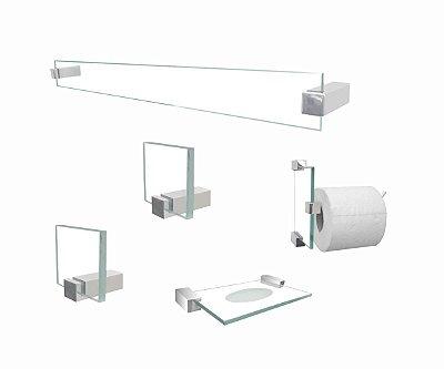 Kit de acessórios para banheiro 602CLB vidro incolor 5 peças Grego Metal