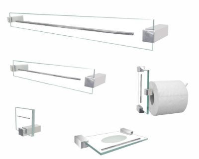 Acessórios para banheiro 700EXB Exclusive 5 peças vidro incolor Grego Metal