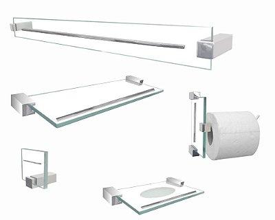 Jogo de banheiro acessórios de vidro 701EXB Exclusive 5 peças Grego Metal