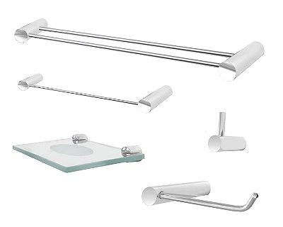 Kit acessórios banheiro porta toalha duplo 5 peças Plus 502PL Grego Metal