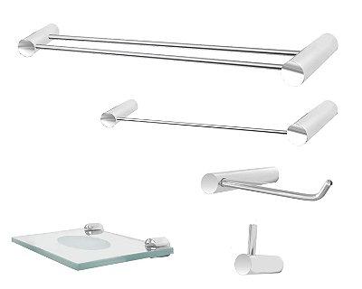 Jogo de banheiro com toalheiro duplo 5 peças Plus 503PL Grego Metal