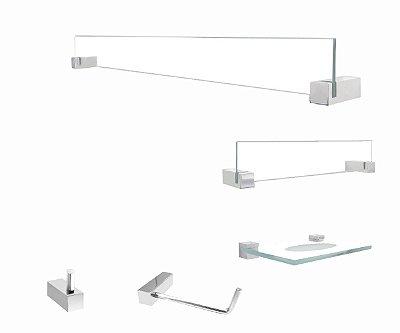 Acessórios de vidro transparente para banheiro 5 peças 400VTA Grego Metal