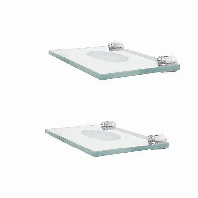Saboneteira vidro banheiro kit 2 peças 208RT2 Grego Metal