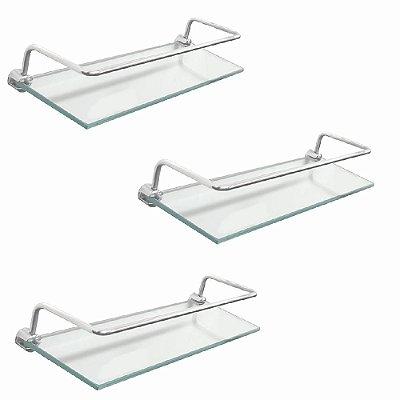 Porta shampoo prateleira vidro com proteção kit 3 peças 210RT3 Grego Metal