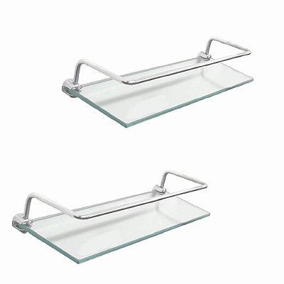 Porta shampoo prateleira vidro com proteção kit 2 peças 210RT2 Grego Metal
