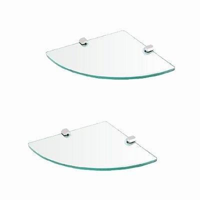 Prateleira canto de vidro acessório kit 2 peças 213RT2 Grego Metal