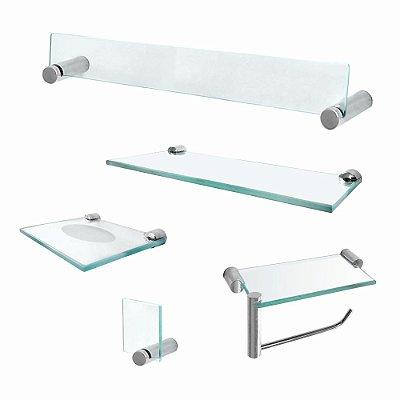 Kit Banheiro Acessórios em Vidro com Prateleira Retrô 222RT Grego Metal