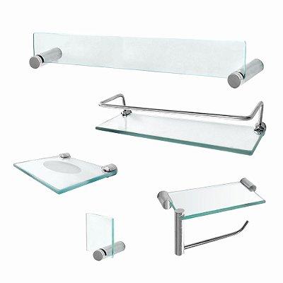 Kit para Banheiro Acessórios Vidro com Prateleira Retrô 223RT Grego Metal