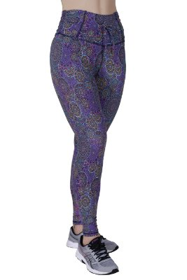 Legging fitness estampada | FT102Leg | Cós drapeado