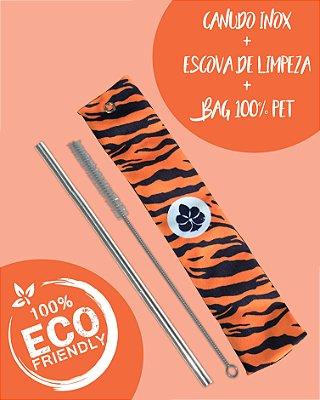 Kit Canudo inox com escova e Bag - Tigre Animal Print