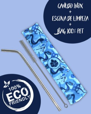 Kit Canudo inox com escova e Bag - Fundo do mar