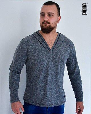 Camiseta Manga longa com Capuz-  Cinza Mescla- Sustentável - Pinha Originals