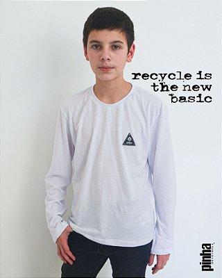 Camiseta básica Unissex manga longa Gola redonda Branca - Pinha Originals