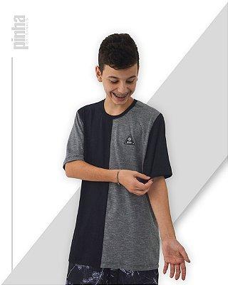Camiseta Half-Side- Sustentável Preto e Mescla - Pinha Originals