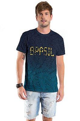 Camiseta Básica Adulto Brasil Azul