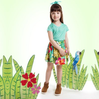 Blusa Florata Infantil Poá Verde
