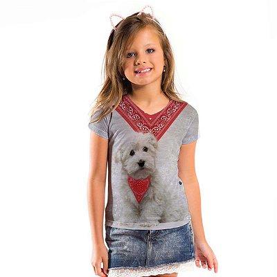 Blusa Florata Infantil Dog Bandana