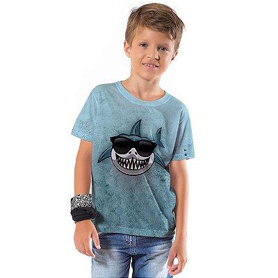 Camiseta Básica Infantil Tubarão Funny
