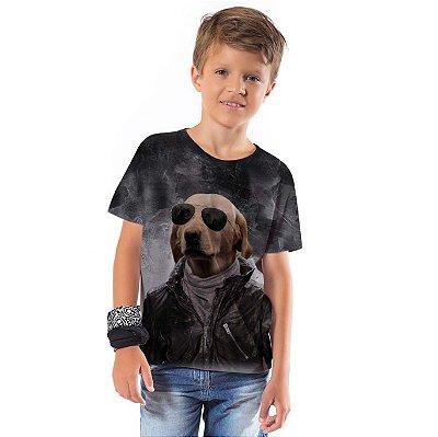Camiseta Básica Infantil Dog Óculos