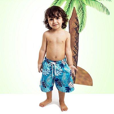 Bermuda Masculina Infantil Folhas Azul