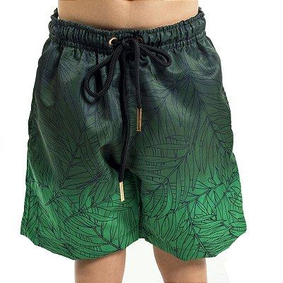 Bermuda Masculina Infantil Folhas Verdes