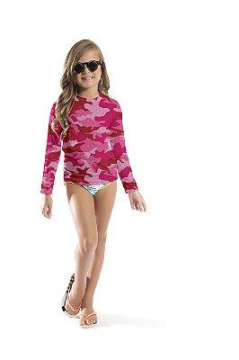 Blusa UV Infantil Unissex Militar Rosa