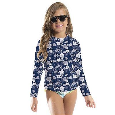 Blusa UV Infantil Unissex Hibiscos