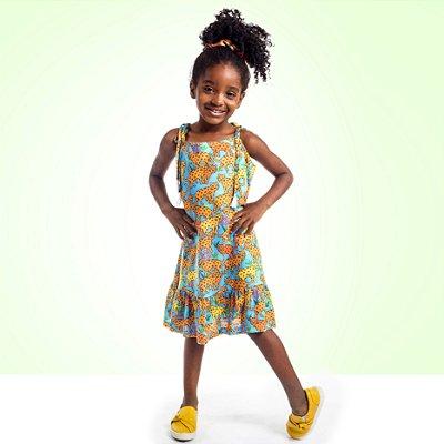 Vestido Curto Amora Infantil Onça