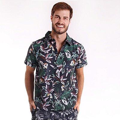 Camisa de Botão Adulto Floresta