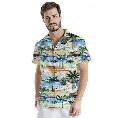 Camisa de Botão Adulto Paisagem Praia