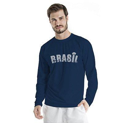 Blusa UV Adulto Brasil Azul