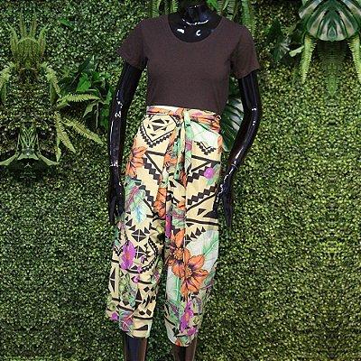 Calça Transpassada Floral Geométrico