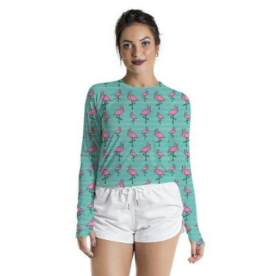 Blusa UV Feminino Adulto Flamingos