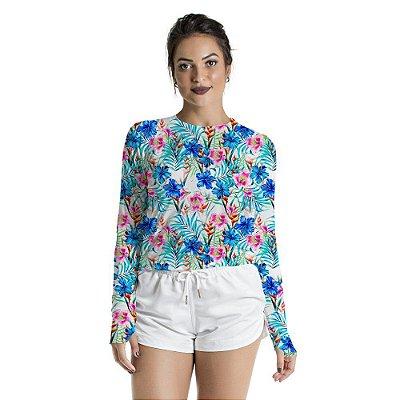 Blusa UV Feminino Adulto Floral Azul