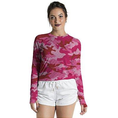 Blusa UV Feminino Adulto Militar Rosa