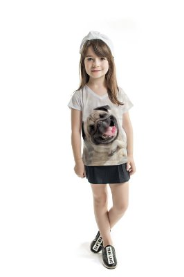 Blusa Florata Infantil Dog Happy