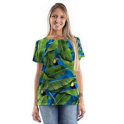 Blusa Atena Folha de Bananeira e Tucanos