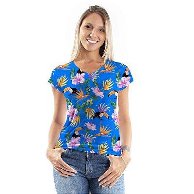 Blusa Florata Casal Tucanos e Flores