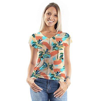 Blusa Florata Desenhos e Tucanos