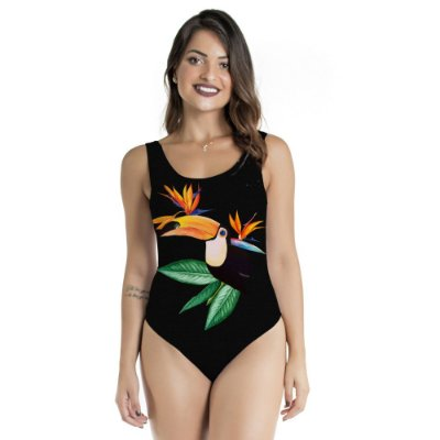Body Regata Preto com Tucano Frontal