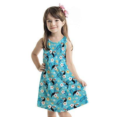 Vestido Tutti-Fruti Infantil Azul Floral